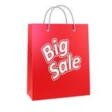 Copie rouge de panier avec le grand texte de vente Images stock