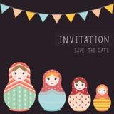 Copie russe de matryoshka de poupée à l'invitation de carte postale - illustration plate de vecteur Image stock