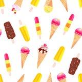 Copie sans couture d'été de vecteur lumineux de crème glacée Photographie stock