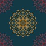 Copie sans couture dans le style oriental sur la couleur bleue profonde Image stock