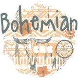 Copie sans couture de Boho avec des dreamcatchers et des flèches Image stock