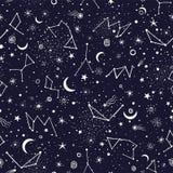 Copie sans couture de modèle de constellation de galaxie de l'espace illustration de vecteur