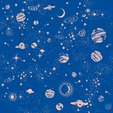 Copie sans couture de modèle de constilation de galaxie Image libre de droits