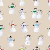 Copie sans couture de vecteur de bonhommes de neige frais de hippie Photographie stock libre de droits