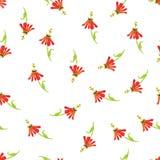 Copie sans couture de vecteur de rouge d'aquarelle exotique de fleurs Image stock