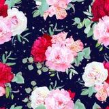 Copie sans couture florale de vecteur de marine avec la pivoine rouge et rose de Bourgogne, lis d'alstroemeria, eucalyptus en bon illustration stock