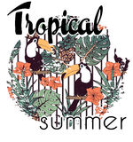 Copie tropicale avec le slogan dans le vecteur Image stock