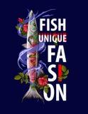 Copie unique de mode pour des clothers avec le barracuda et les roses de poissons Illustration de vecteur Photographie stock libre de droits