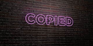 COPIED -Realistic Neon Sign on Brick Wall background - 3D rendered royalty free stock image Royalty Free Stock Photography