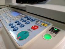 Copier control panel with descriptions. Many buttons to setting copier multifunction machine royalty free stock photography