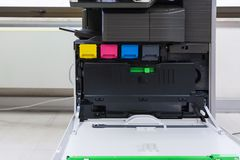 copier with four toner cartridges with open cover Royalty Free Stock Photos