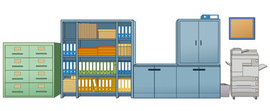 Copier and office shelves Royalty Free Stock Images