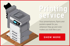 Copier printer isometric flat vector 3d . Stock Images