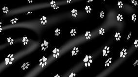Copies animales de patte sur le tissu animé illustration libre de droits