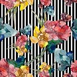 Copies de luxe de mode avec les fleurs botaniques de wildflowers Ensemble d'illustration d'aquarelle Modèle sans couture de fond illustration libre de droits