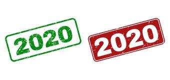 2020 copies en caoutchouc grunges avec les cadres arrondis de rectangle illustration de vecteur