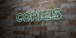 COPIES - Glowing Neon Sign on stonework wall - 3D rendered royalty free stock illustration. Can be used for online banner ads and direct mailers stock illustration