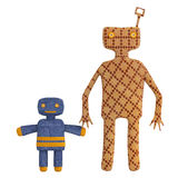 Copies of old mechanical tin toys. With a wind up key in the form of stylised figures of an adult and child holding hands isolated on a white background royalty free illustration