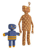 Copies of old mechanical tin toys. With a wind up key in the form of stylised figures of an adult and child holding hands isolated on a white background stock illustration