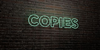 COPIES -Realistic Neon Sign on Brick Wall background - 3D rendered royalty free stock image. Can be used for online banner ads and direct mailers Stock Photo