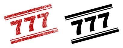 777 copies texturisées et propres rayées de timbre Illustration Stock