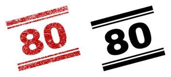 80 copies texturisées et propres rayées de timbre illustration de vecteur