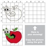 Copiez l'image utilisant la grille Apple worm illustration stock