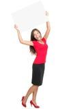 Copiez la femme de l'espace heureuse Image stock