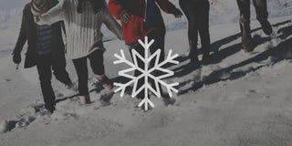 Copiez le concept de flocons de neige de bannière de timbre de label d'insigne de l'espace Images libres de droits