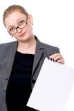 Copiez le signe heureux de blanc de participation de femme de l'espace images libres de droits