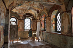 Coping Beautiful Frescoes - Interior of Resurrection Church. ROSTOV VELIKIY, YAROSLAVL REGION, RUSSIA - An artist is making a copy of fresco painting icon of Stock Photos