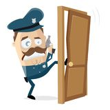 Angry police officer kicking in the door. Cartoon stock illustration