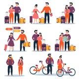 Cople joven con la bicicleta, bolso del mapa listo para el viaje libre illustration