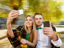 Cople selfie photos Royalty Free Stock Image