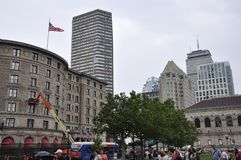 Boston Ma, 30th June: Copley Square and and Buildings around in Downtown Boston in Massachusettes State of USA. Copley Square and and Buildings around in Stock Photo