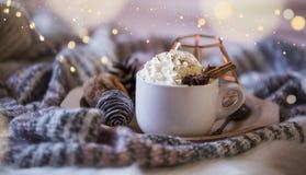 Copo acolhedor do chocolate quente com creme e canela fotos de stock