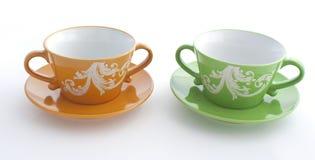Copo alaranjado e verde Imagem de Stock Royalty Free