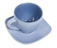 Copo azul vazio do coffe fotos de stock royalty free