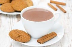 Copo branco do cacau com os biscoitos da canela e de farinha de aveia Imagem de Stock Royalty Free