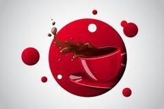 Copo brilhante da cor do vetor da bebida quente Fotografia de Stock