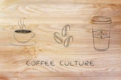 Copo com arte do latte, feijões do coffe & ícones da secadora de roupa Fotografia de Stock