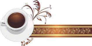 Copo com café na fita decorativa Fotografia de Stock