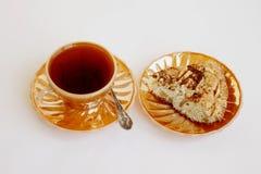 Copo com chá e torta para um café da manhã Fotografia de Stock Royalty Free
