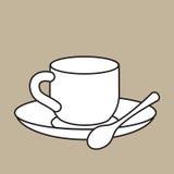 Copo com colher de chá ilustração stock