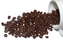 Copo com feijões de café imagem de stock royalty free