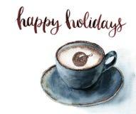 Copo da aquarela do cappuccino com boas festas rotulação Ilustração do Natal com xícara de café e canela azuis ilustração royalty free