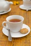 Copo da colher e das cookies do chá em pires Fotografia de Stock Royalty Free
