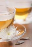 Copo da flor verde de chá e branca fotos de stock