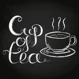 Copo da ilustração do vetor da rotulação do chá Fotografia de Stock