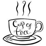 Copo da ilustração do vetor da rotulação do chá Imagens de Stock Royalty Free